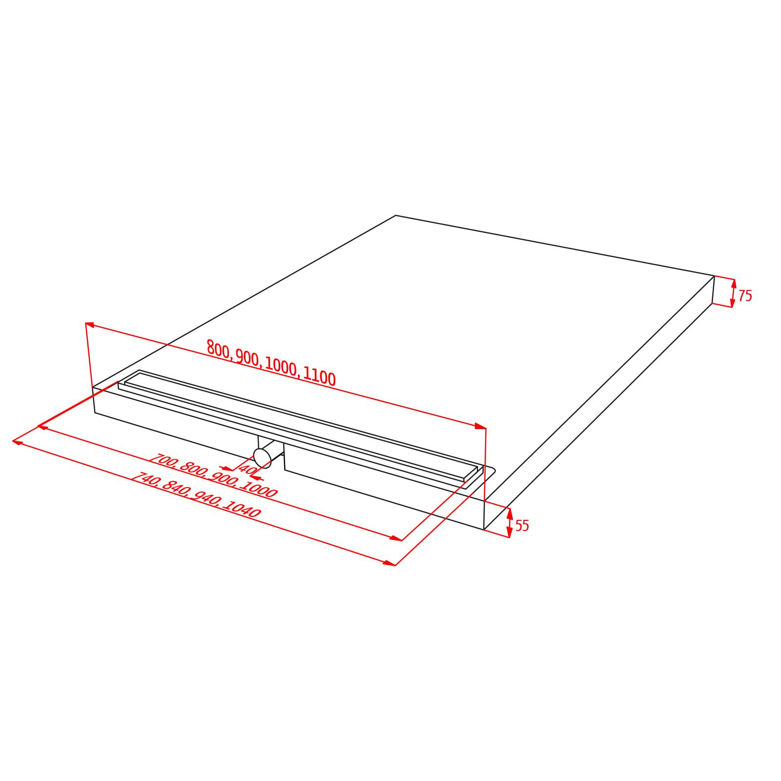 duschelement 90x110 cm mit rinne duschelement iq. Black Bedroom Furniture Sets. Home Design Ideas
